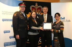 Police Chief Glenn De Caire, Hamilton Police Service, Kristine Wilson, Associate Director, Bell Community Investment, Sid Stacey, Chair, SPCCH, Lena Demarco, Regional Director, Bell Community Affairs